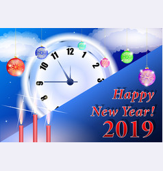 christmas background happy new year 2019 clock vector image
