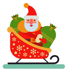 christmas santa claus sleigh character new vector image