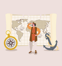 Christopher columbus cartoon with compass and vector