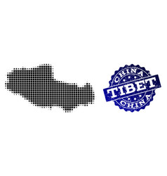 Collage of halftone dotted map of tibet and grunge vector