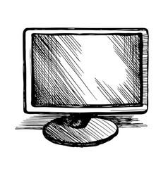 computer monitor sketch vector image
