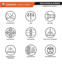 Concept Line Icons Set 9 Social sciences vector
