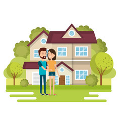 couple of lovers away from home vector image