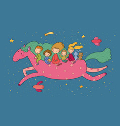 cute cartoon children are flying on a magic horse vector image
