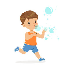 Cute little boy blowing bubbles vector