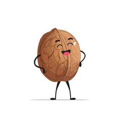 cute walnut character cartoon mascot nut healthy vector image