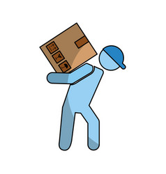Delivery worker with box avatar character vector