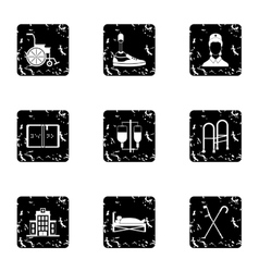 Disabled people icons set grunge style vector