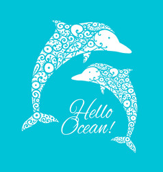 dolphin ornate logo sketch for your design vector image