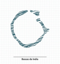 Doodle sketch of Bassas da India map vector