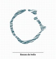 Doodle sketch of bassas da india map vector