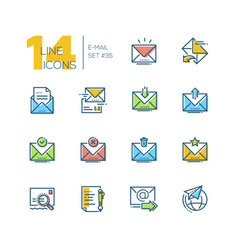 Email - set line design style icons vector