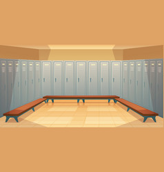 Empty dressing room with closed lockers vector