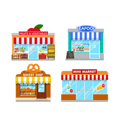 Facades mini stores vector