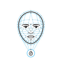 face id flat line iconface recognition vector image