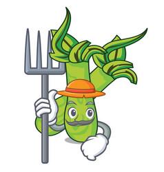 Farmer wasabi character cartoon style vector