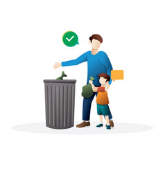 father and little son throwing garbage into a vector image