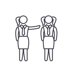 female mentoring line icon concept female vector image