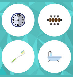 Flat icon oneday set of tub boardroom dental and vector