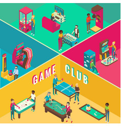 game club cutaway interior flat 3d vector image