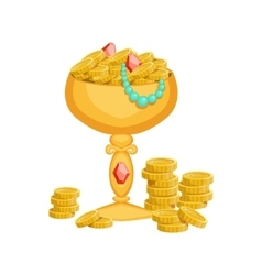 Golden Goblet With Gold Coins And JewelryHidden vector image