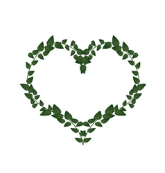 Green Vine Leaves in A Heart Shape vector