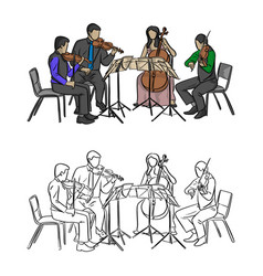 group of musicians playing in quartet vector image