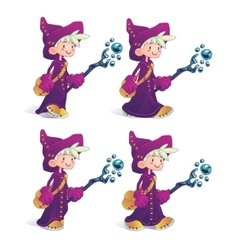 Happy cartoon mage character in move vector
