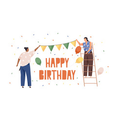 happy people preparing decoration and ornaments vector image