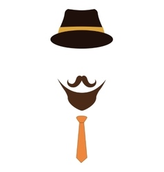Hat necktie and mustache icon Hipster style vector