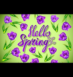Hello Spring Design with 3D Realistic Fresh Plants vector image