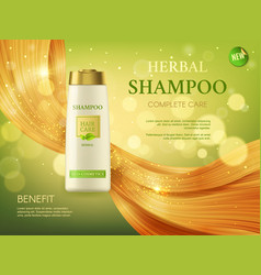 Herbal shampoo woman health and beauty hair care vector