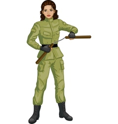Indonesian Nunchuck girl in military uniform vector image