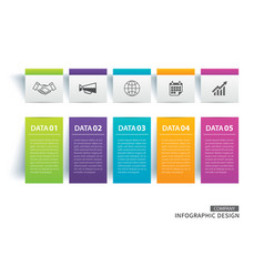infographics tab paper index with 5 data template vector image