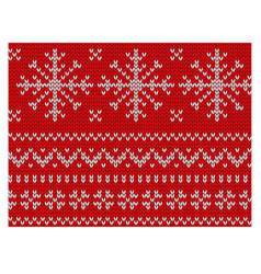 knitted endless pattern of white snowflakes on a vector image