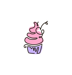 Line icon cupcake one line drawing vector
