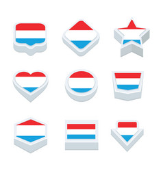 Luxembourg flags icons and button set nine styles vector
