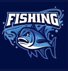 Mascot fishing giant trevally vector