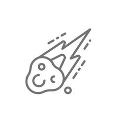 meteorite meteor rain fall line icon vector image