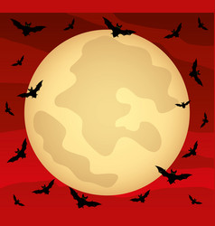 Moon in red sky vector