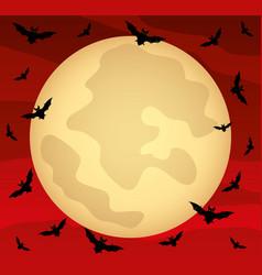 moon in red sky vector image