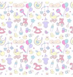 Newborn baby shower seamless pattern boy girl vector