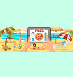 Online order pizza on beach family on beach vector
