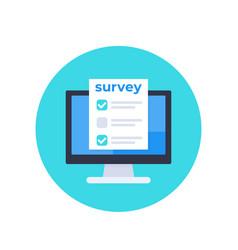 Online survey feedback form on screen icon vector