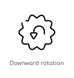 Outline downward rotation icon isolated black vector