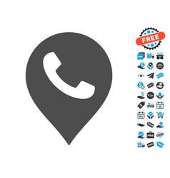 phone receiver marker icon with free bonus vector image