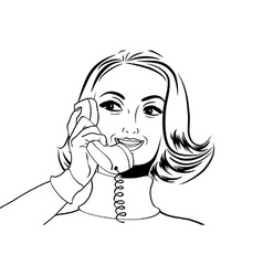 Pop art retro woman in comics style talking on the vector