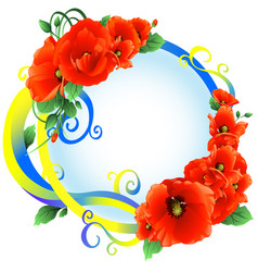 poppies with ribbon frame yellow-blue vector image