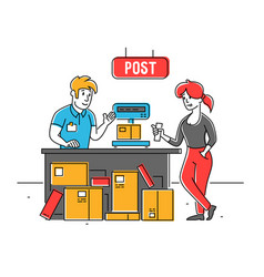 post office worker put carton parcel box on scales vector image
