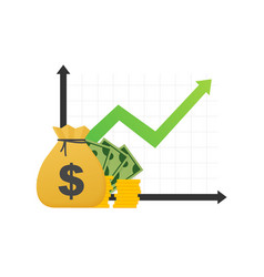 profit money or budget cash and rising graph vector image